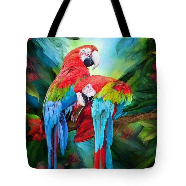 Tropic Spirits - Macaws Tote Bag by Carol Cavalaris
