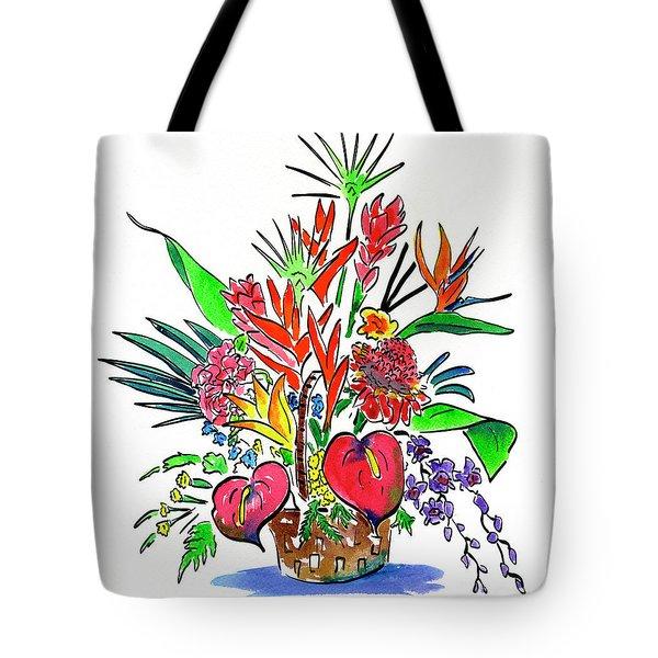 Tropical Basket Tote Bag
