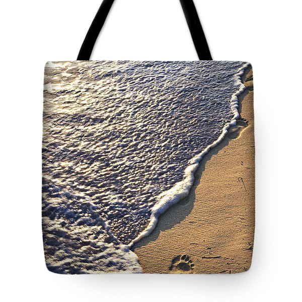 Tropical Beach With Footprints Tote Bag