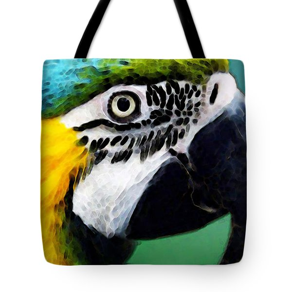 Tropical Bird - Colorful Macaw Tote Bag by Sharon Cummings