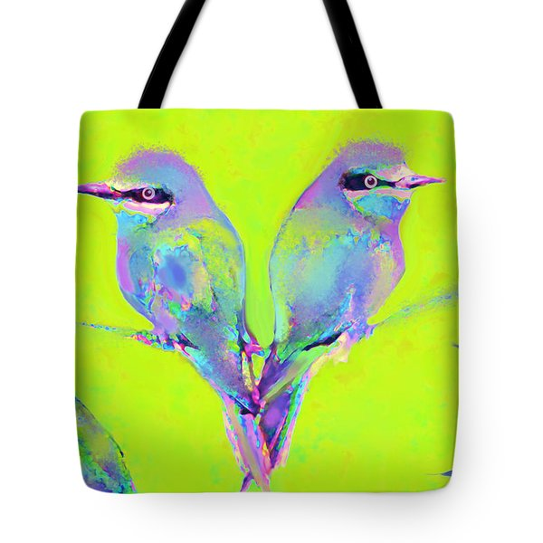 Tropical Birds Blue And Chartreuse Tote Bag