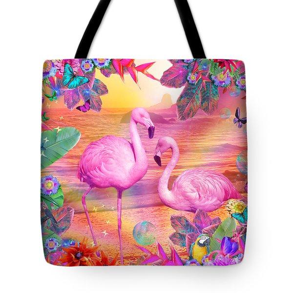 Tropical Flamingo Tote Bag by Alixandra Mullins