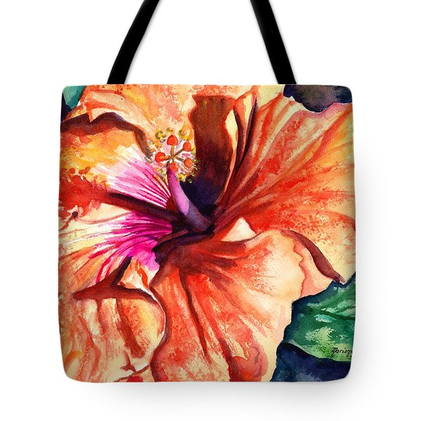 Tote Bag featuring the painting Tropical Hibiscus by Marionette Taboniar