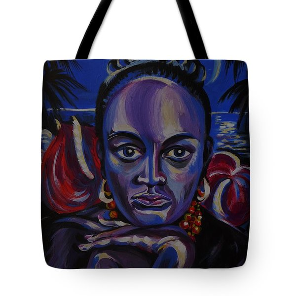 Tote Bag featuring the painting Tropical Night by Anna  Duyunova