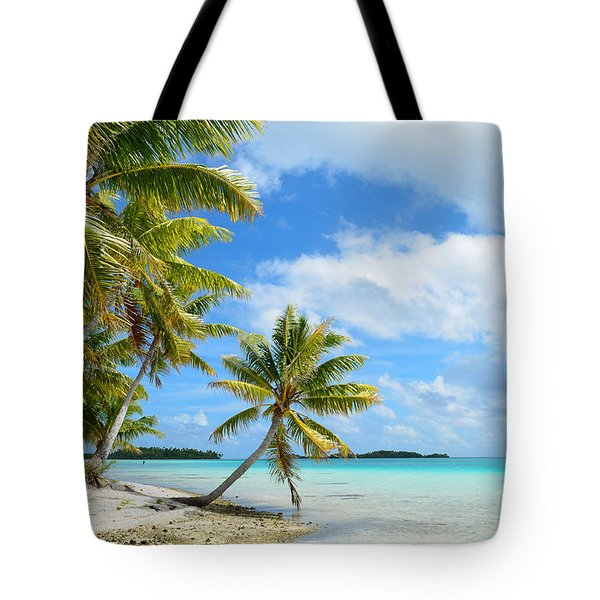 Tropical Beach With Hanging Palm Trees In The Pacific Tote Bag