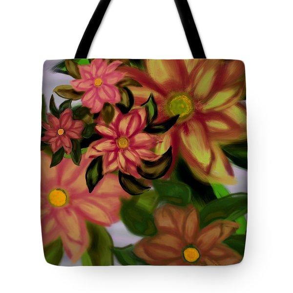 Tropical Plaid Tote Bag by Christine Fournier