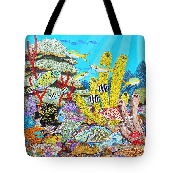 Tropical Reef Tote Bag by Carey Chen