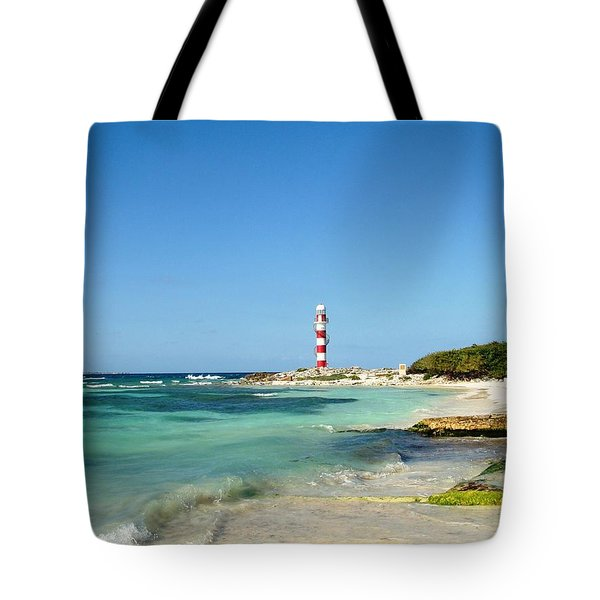 Tropical Seascape With Lighthouse Tote Bag