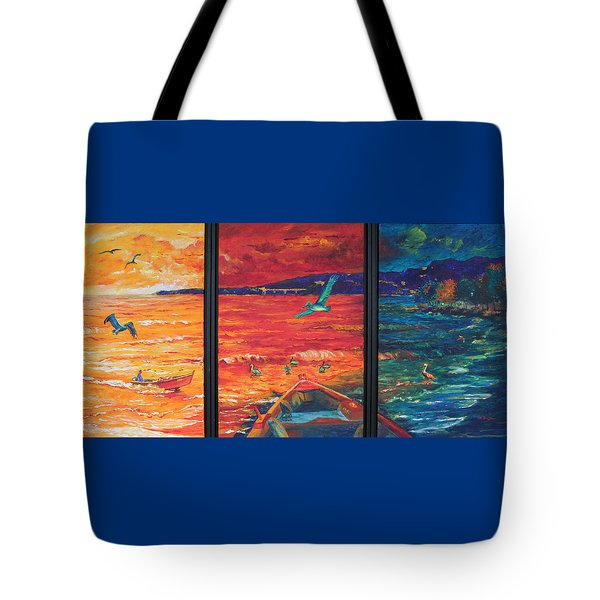 Tropical Trance Triptych Tote Bag by Estela Robles Galiano