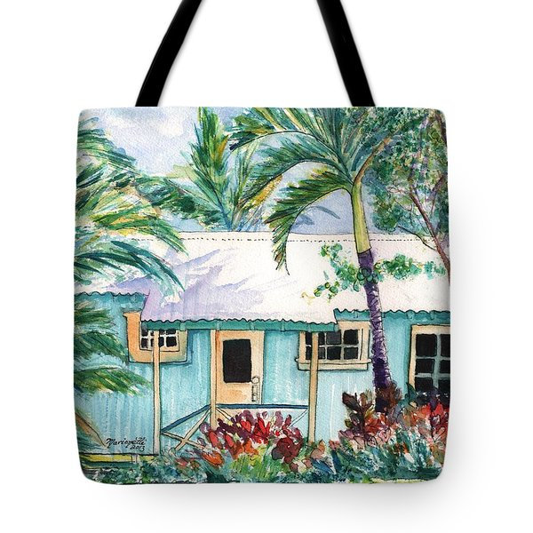 Tote Bag featuring the painting Tropical Vacation Cottage by Marionette Taboniar