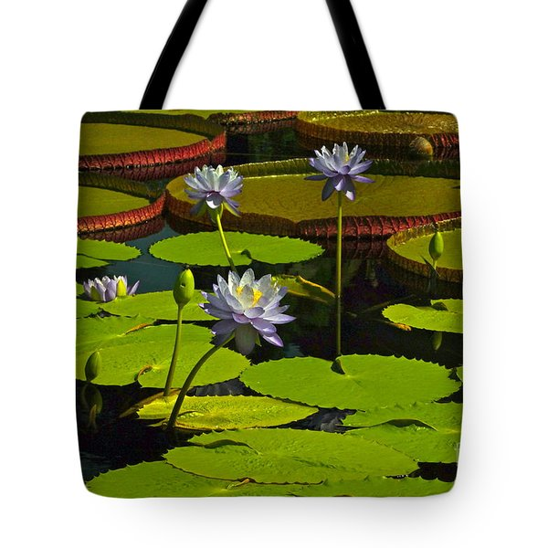 Tropical Water Lily Flowers And Pads Tote Bag by Byron Varvarigos