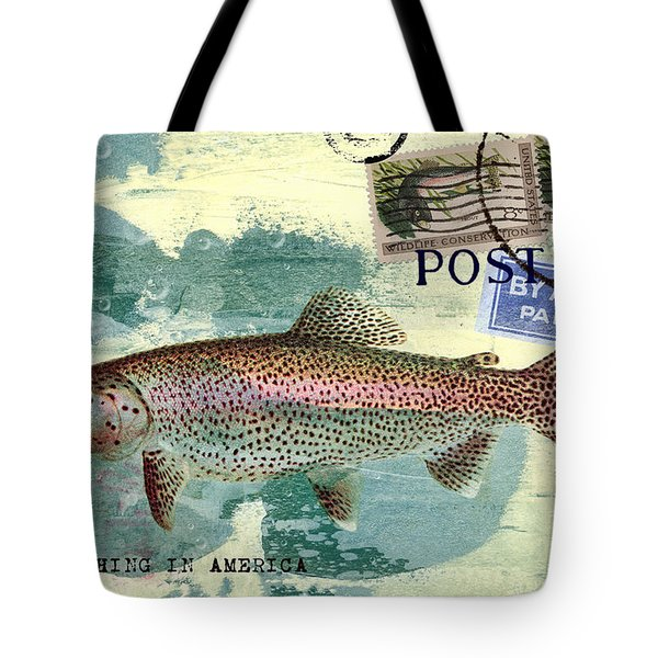 Trout Fishing In America Postcard Tote Bag by Carol Leigh
