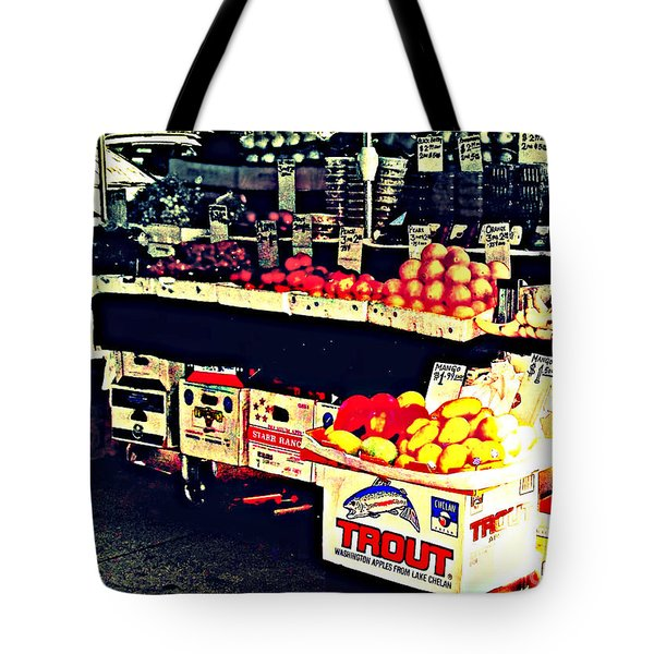 Tote Bag featuring the photograph Vintage Outdoor Fruit And Vegetable Stand - Markets Of New York City by Miriam Danar