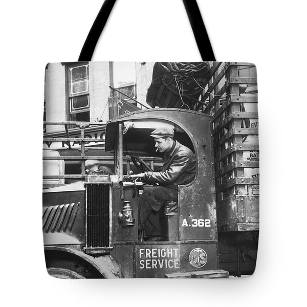 Truck Driver In His Cab Tote Bag