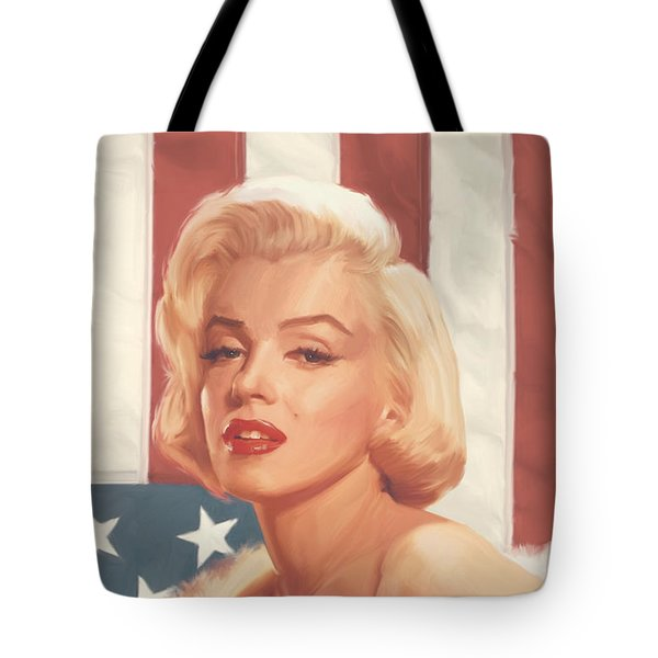 True Blue Marilyn In Flag Tote Bag by Chris Consani
