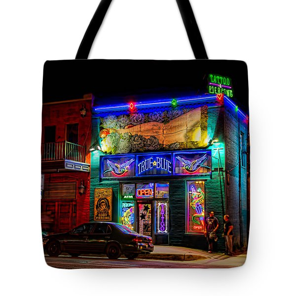 Tote Bag featuring the photograph True Blue Tattoos by Tim Stanley