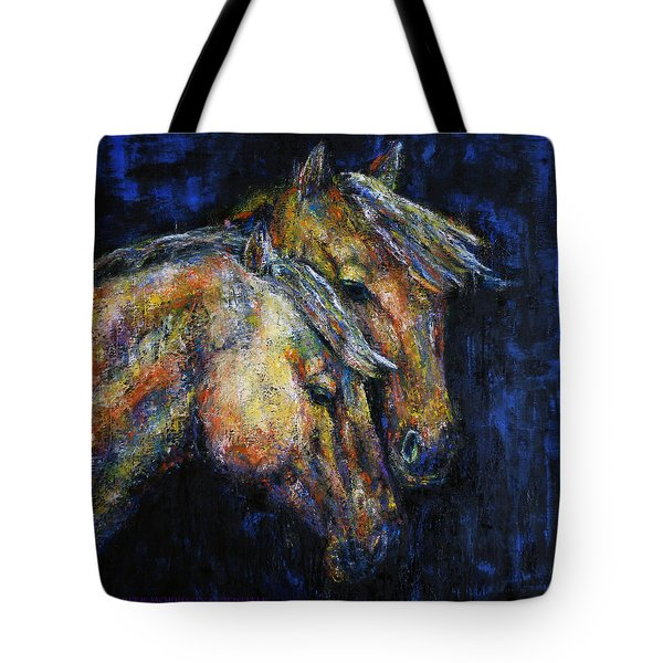 True Companions Contemporary Horse Painting Tote Bag by Jennifer Godshalk