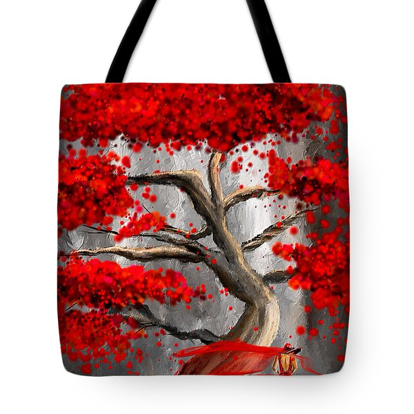 True Love Waits - Red And Gray Art Tote Bag