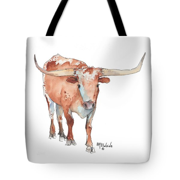 Square Walking Tall Texas Longhorn Watercolor Painting By Kmcelwaine Tote Bag by Kathleen McElwaine
