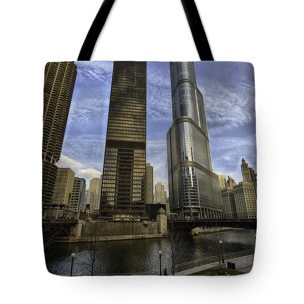 Trump Tower And River Front Tote Bag by Sebastian Musial