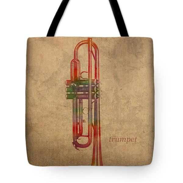 Trumpet Brass Instrument Watercolor Portrait On Worn Canvas Tote Bag
