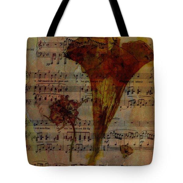 10363 Trumpet Flower On Music Sheet Tote Bag