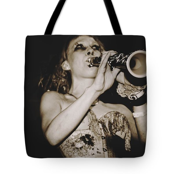 Tote Bag featuring the photograph Trumpet Lady by Alice Gipson