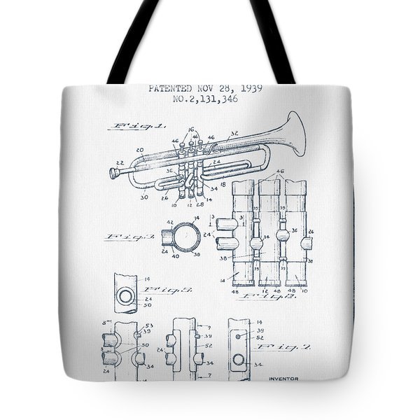 Trumpet Patent From 1939 - Blue Ink Tote Bag by Aged Pixel