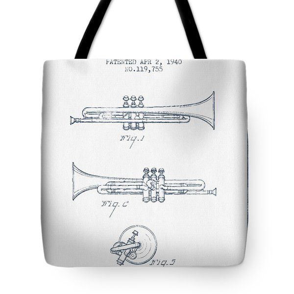 Trumpet Patent From 1940 - Blue Ink Tote Bag by Aged Pixel
