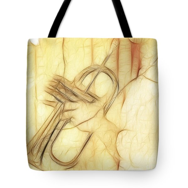 Trumpeter On The Scrap Of Paper - Grunge Style Tote Bag by Michal Boubin