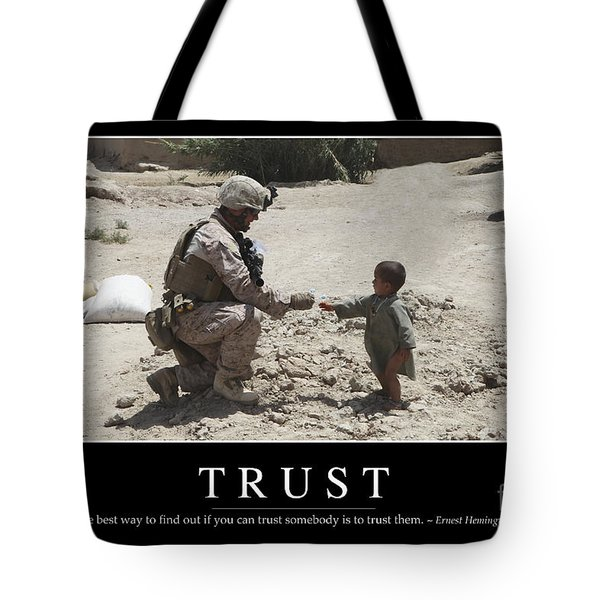 Trust Inspirational Quote Tote Bag by Stocktrek Images