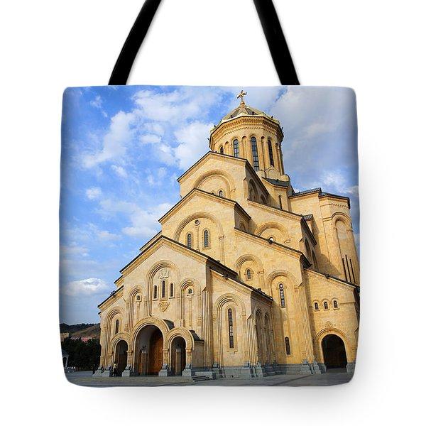 Tsminda Sameba Cathedral Tbilisi Georgia Tote Bag by Robert Preston
