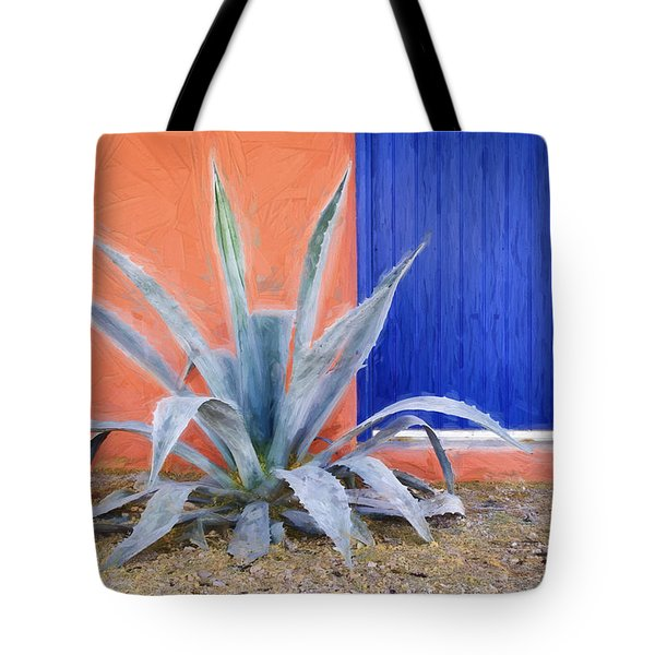 Tucson Barrio Blue Door Painterly Effect Tote Bag