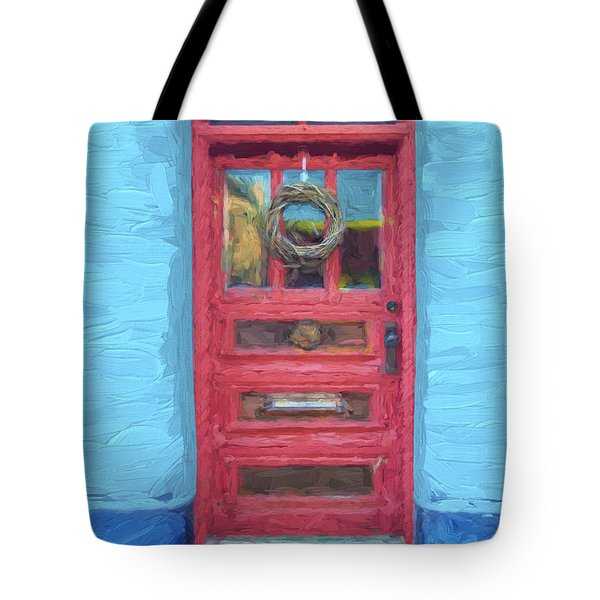 Tucson Barrio Red Door Painterly Effect Tote Bag