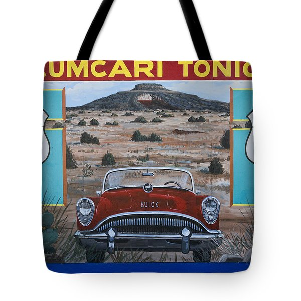Tucumcari Tonight Mural On Route 66 Tote Bag by Carol Leigh