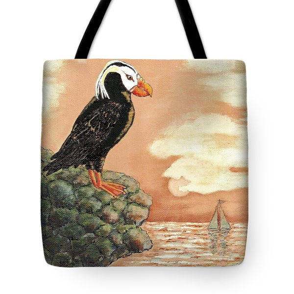 Tote Bag featuring the painting Tufted Puffin At Dusk by VLee Watson
