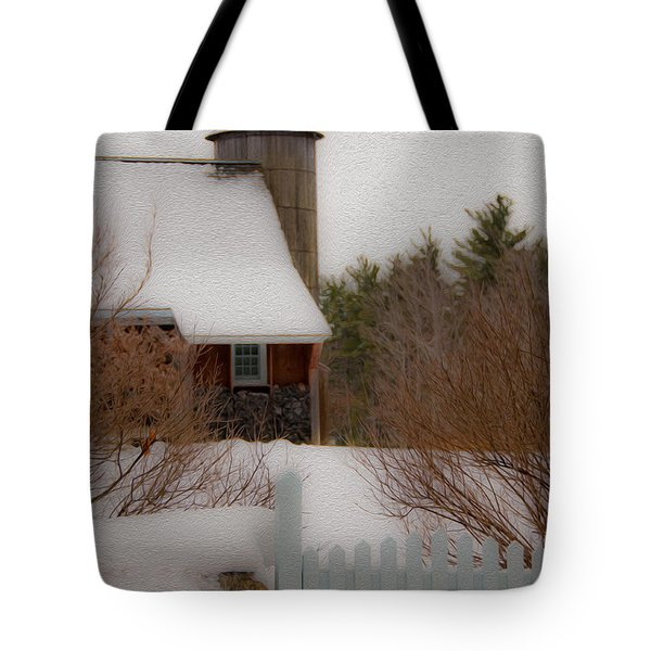 Tuftonboro Barn In Winter Tote Bag