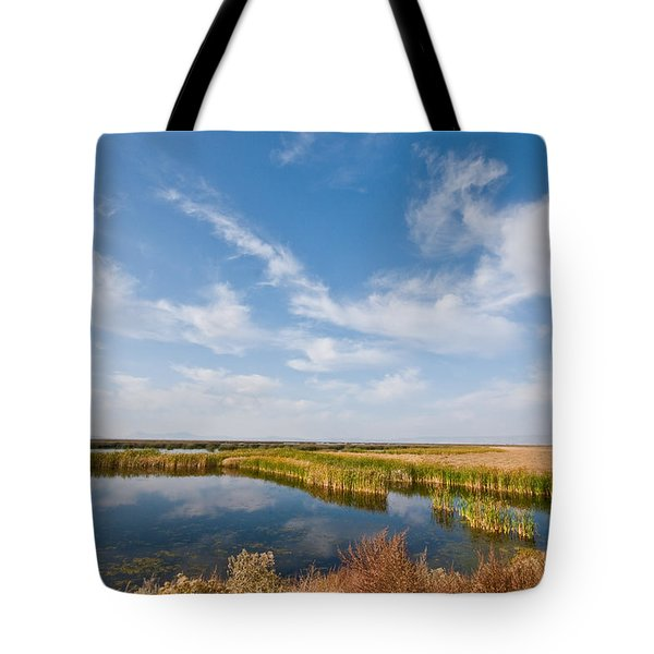 Tote Bag featuring the photograph Tule Lake Marshland by Jeff Goulden