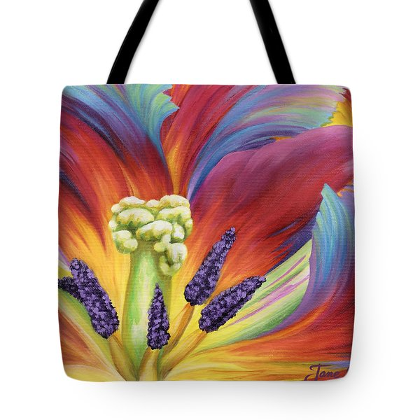 Tote Bag featuring the painting Tulip Color Study by Jane Girardot
