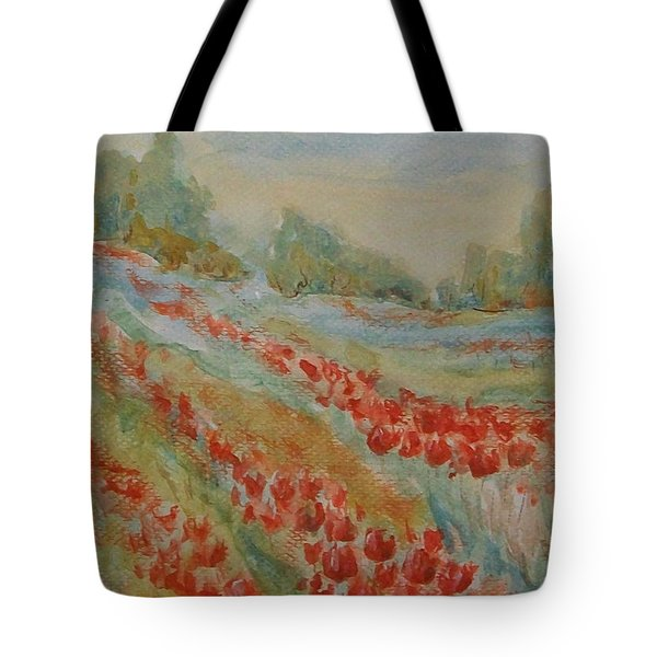 Tote Bag featuring the painting Tulip Field by Jane  See