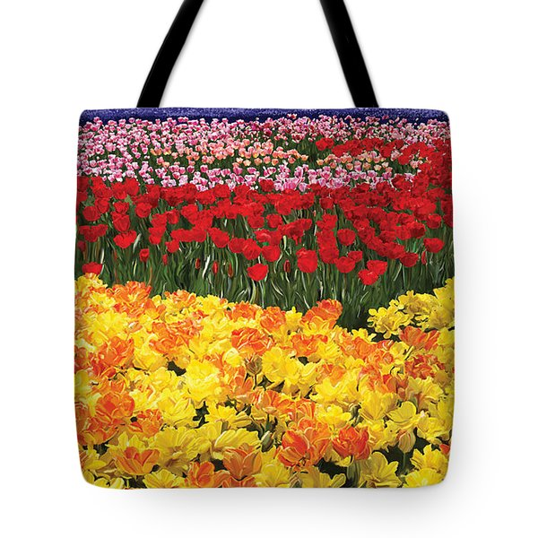 Tote Bag featuring the digital art Tulip Field by Tim Gilliland