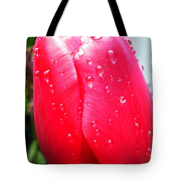 Tote Bag featuring the photograph Tulip Flower Rain Drops by Colette V Hera  Guggenheim