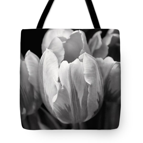 Tulip Flowers Black And White Tote Bag by Jennie Marie Schell