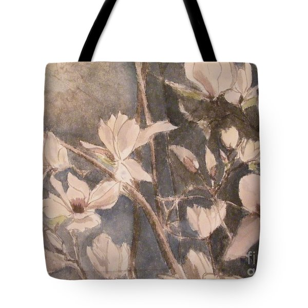 Tote Bag featuring the painting Tulip Magnolias by Nancy Kane Chapman