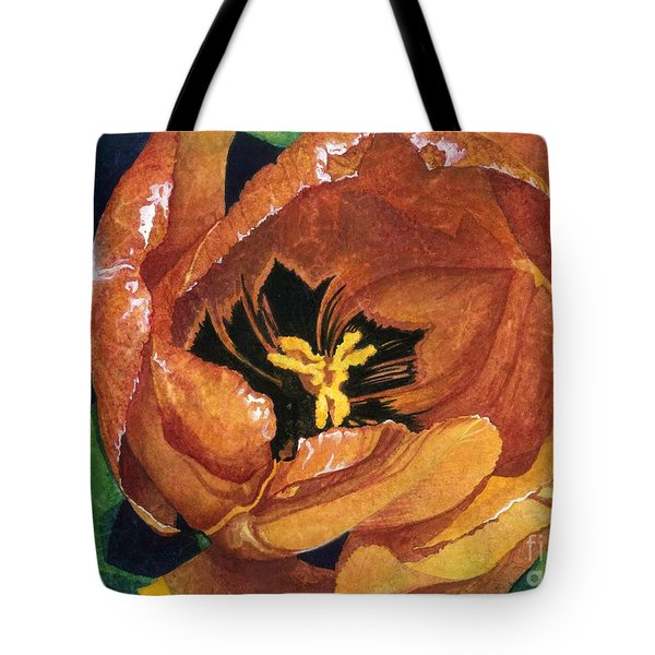 Tote Bag featuring the painting Tulip Swirl by Barbara Jewell