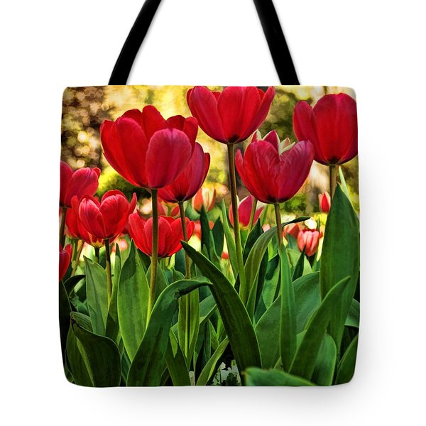Tulip Time Tote Bag by Peggy Hughes