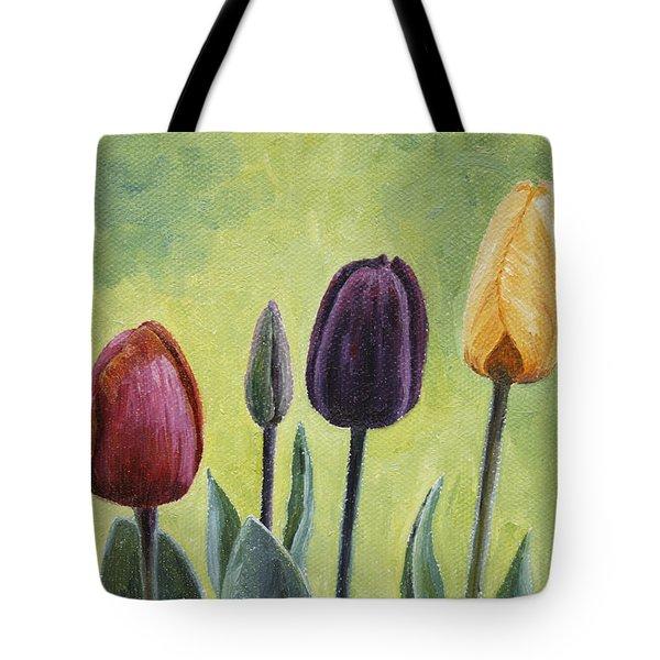Tulip Trio Tote Bag by Crista Forest
