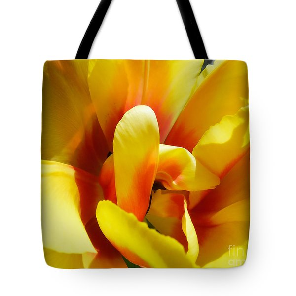 Tote Bag featuring the photograph Tulip Unfolding by Kristen Fox