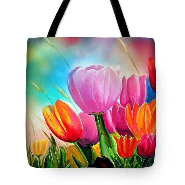 Tulipa Festivity Tote Bag by Angel Ortiz