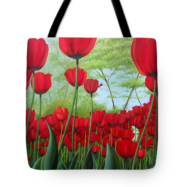 Tulipanes  Tote Bag by Angel Ortiz